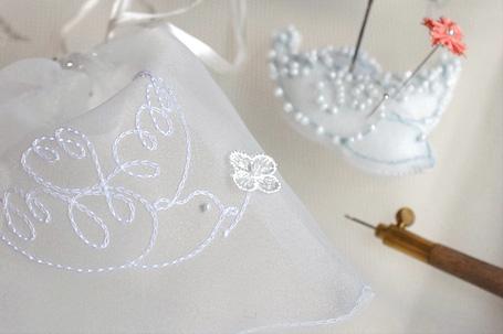 リュネビル刺繍のチェーンステッチ作品