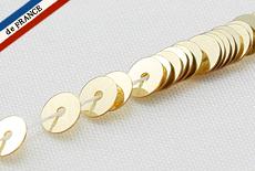【糸通しスパンコール】4mm平 メタリックペールゴールド【1000枚】