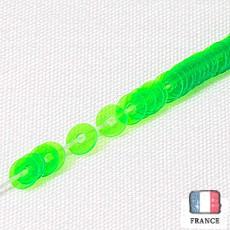 【 糸通しスパンコール 】3mm平 蛍光グリーン【1000枚】