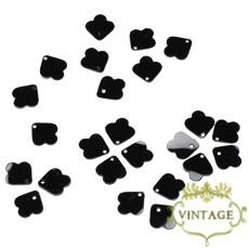 【ヴィンテージスパンコール】8mm トップホール 花びらモチーフ ブラック