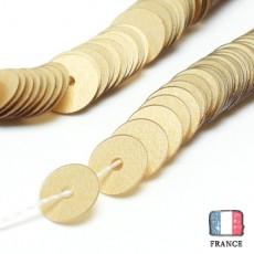 【 糸通しスパンコール 】5mm平 マットペールゴールド【約1000枚】