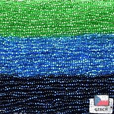 【11/0チェコビーズアソート】スパークリングライトグリーン・ブルーシー・ダークナイトブルー【3色入り】