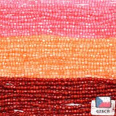【 3cut 糸通しビーズ アソート 】シルクピーチサーモン・シルクオレンジ・シルクルージュ【 3色入り 】