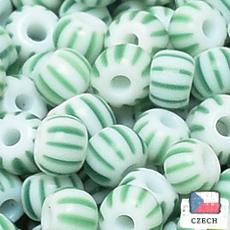 【ストライプビーズ】12/0 ストライプビーズ White Green【*バラ チェコ製】