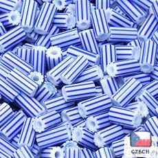 【ストライプビーズ】4.5mm竹 ストライプビーズ White Blue【*バラ チェコ製】