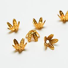 【メタルパーツ】小さな花型の座金【18個セット】
